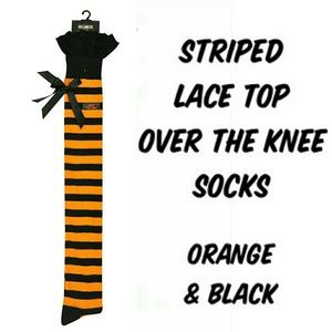Striped Over the Knee Lace Top Socks w/ Bows